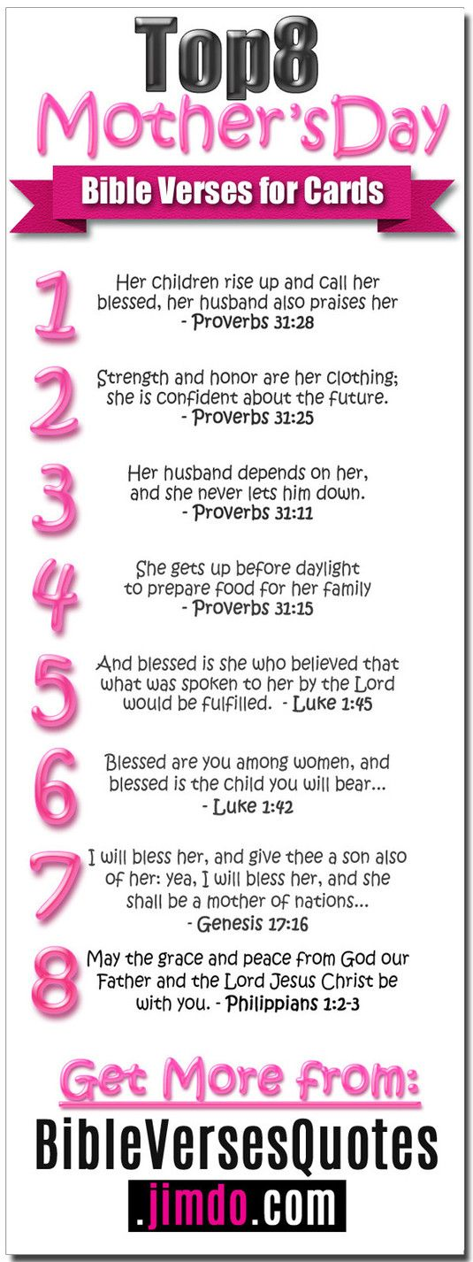 MOTHER'S DAY VERSES - Top 8 Bible Verses for Mother's Day... - Pin & Save for when you need them... Enjoy! #BibleVersesForMothersDay #MothersDayQuotes