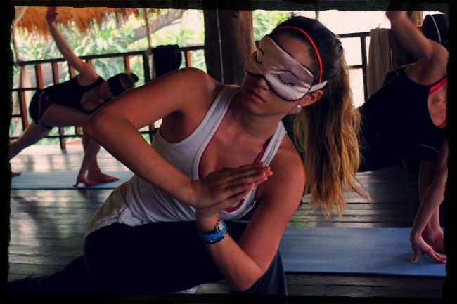 blindfolded yoga