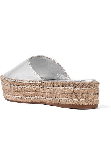 Prada - Embellished Metallic Leather Espadrille Sandals - Silver - IT37.5
