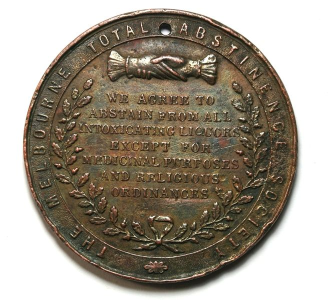 c1890 Melbourne Total Abstinence Society medal
