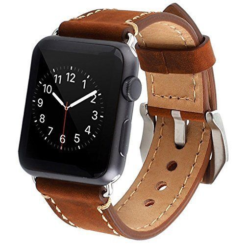 Apple Watch Band iWatch Strap Wrist Bracelet Compatible Leather Brown 42mm #iWATCHBand