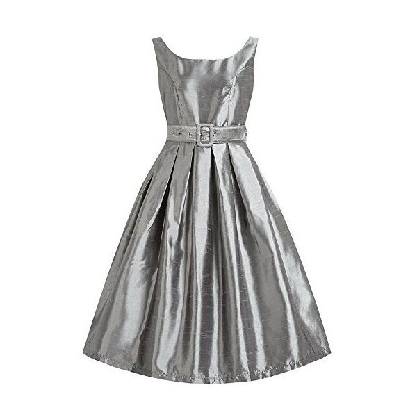 Lindy Bop 'Evelana' Pewter Grey Party Dress ($32) ❤ liked on Polyvore featuring dresses, pewter dress, gray cocktail dress, pewter cocktail dress, grey cocktail dress and gray dress