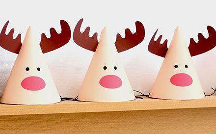 トナカイパーティーハットの作り方の作り方を紹介します。クリスマスのキッズパーティーで子供たちにかぶってもらったり、お部屋の飾りとして置いておくだけでもクリスマスを素敵に演出できます。
