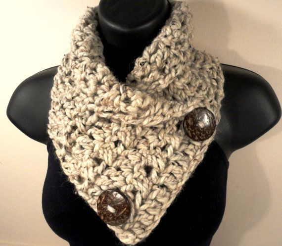 Free Crochet Infinity Scarf Patterns With Buttons : Wool Blend, Bulky, Crochet Scarf , Button Scarf, Crochet ...
