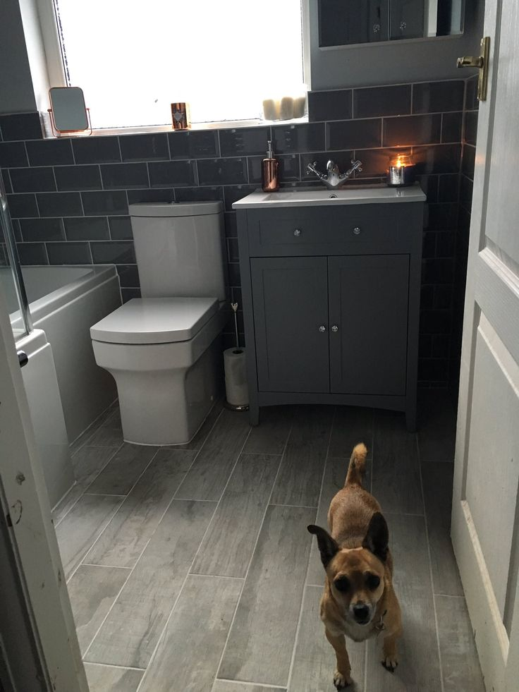 Grey Metro tiles give a contemporary look to our classic Camberley vanity basin unit in grey. What do you think to Danielle from Bolton bathroom?