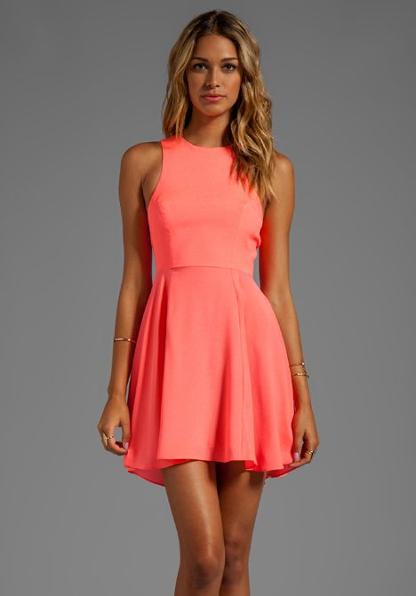 Summe NAVEN EXCLUSIVE Jackie Circle Skirt Dress in Neon Coral - Dresses JT Wedding