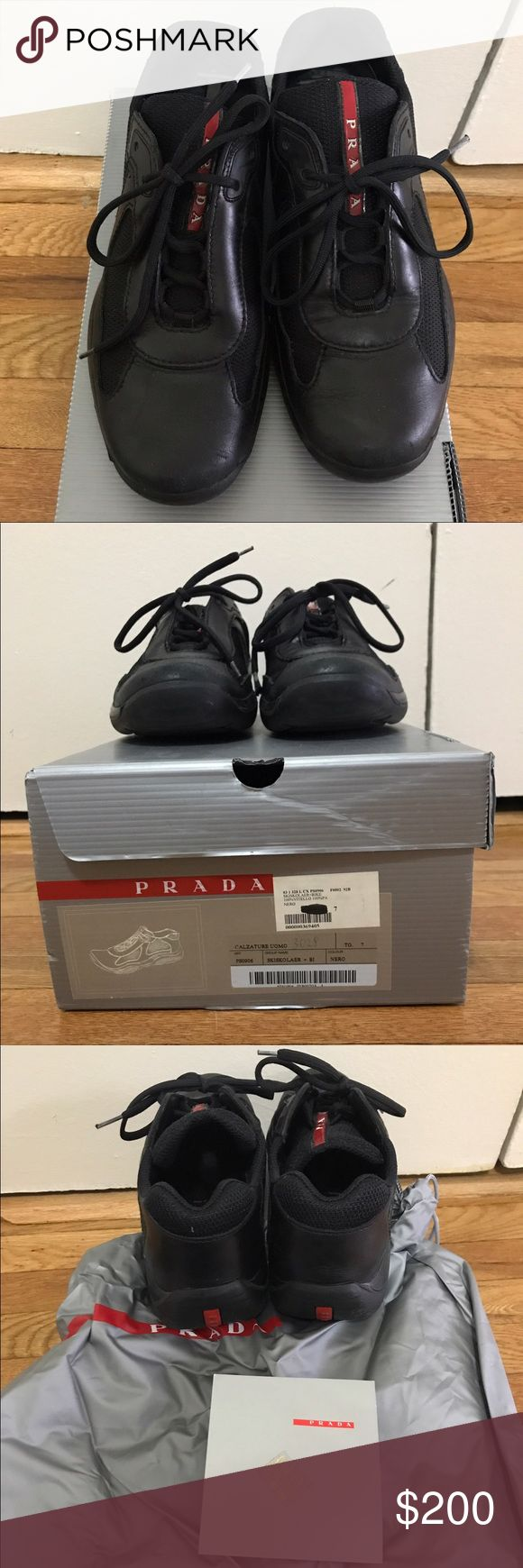 Men's Authentic Prada Sneakers sz 7 Men's authentic Prada sneakers size 7 with box and bag. Brand new sells for $650 and worn a handful of times. Prada Shoes Sneakers