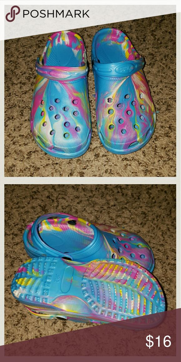 NEW rainbow Crocs style shoes Size 2  Never worn Just like crocs CROCS Shoes Slippers