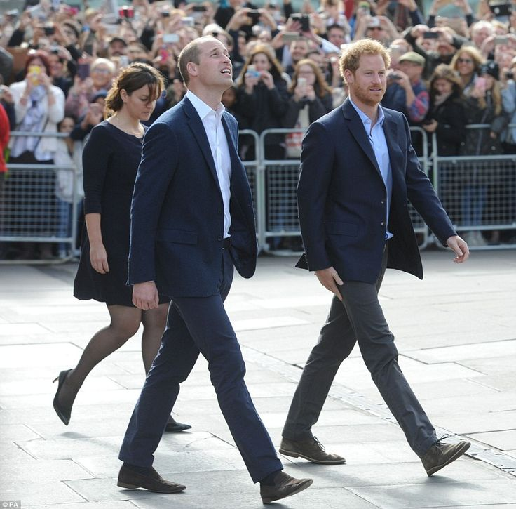 Royal twins! Prince William and Prince Harry look as if they co-ordinated their outfits fo...