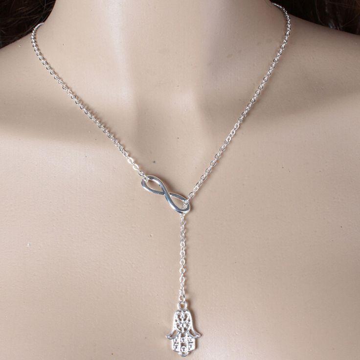 Бесконечность хамса рука фатимы лариата ожерелье новое золото сплав серебра крошечные цепи чокеры для женщин девушки NK098