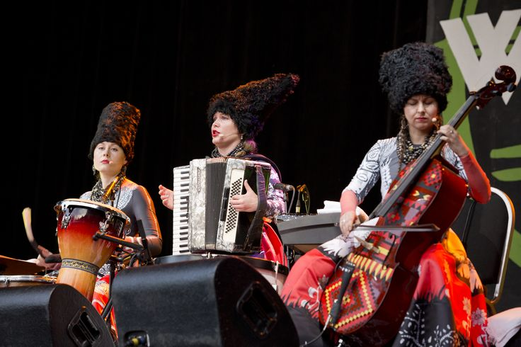 Those Colours Though <3   Photo by Rowena Baines   #Dakhabrakha #WOMAD #WOMADNZ #Musicians #livemusic #Ukraine #Traditional #Cello #accordian #Redlips #WOMAD2016 #Orange #Amazingcello