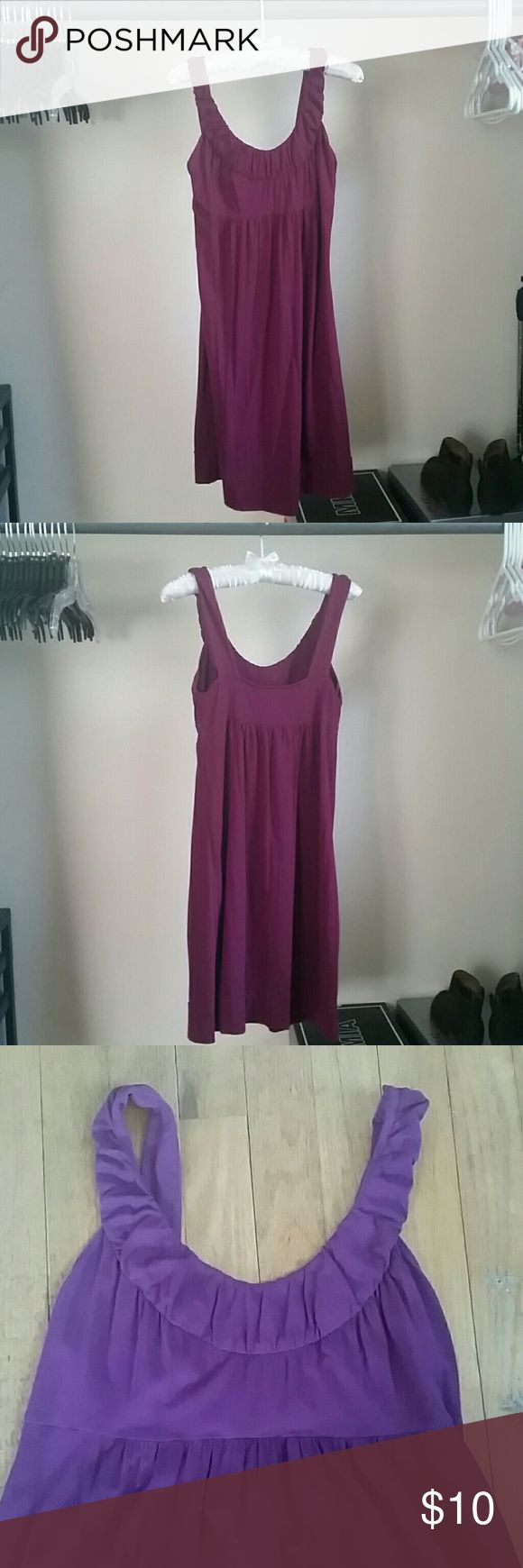 Loft Spring Dress Purple / Maroon dress by Loft. Ruffled top. Babydoll dress. Band around bottom hem of dress. Lightly worn. LOFT Dresses
