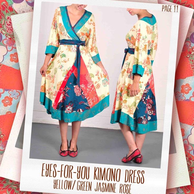 Eyes-for-You kimono dress in Sunset/ jade Jasmine Rose