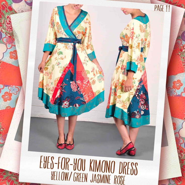 Eyes-for-You kimono dress in Sunset/ jade Jasmine Rose