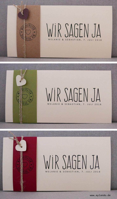 Hochzeitskarte FELINA in diversen Naturpapieren und Banderolenfarben / natural wedding invitation in natural different paper colors by www.aylando.de