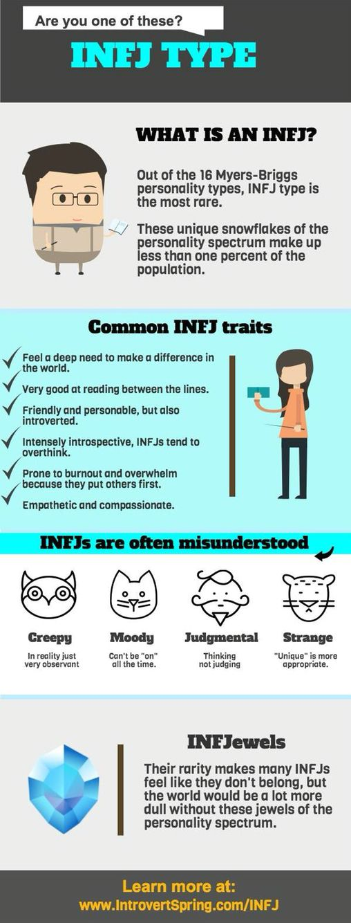 INFJs are relatable. Even if you think you're an INFJ the only real way to tell is the Meyer Briggs MBTI personality test.