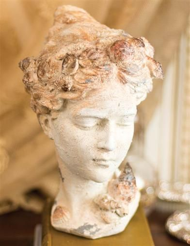 Sea Maiden Bust Statue   A fair sea maiden gazes wistfully at lovers who stroll among her shells and sand.