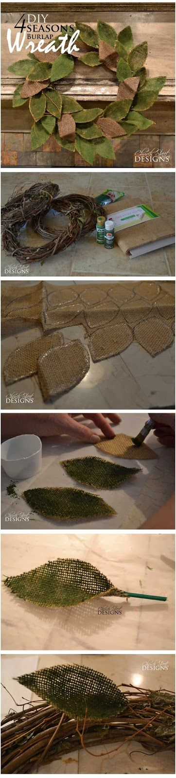 Easy DIY Burlap Wreath - How to make a beautiful and inexpensive burlap wreath for any season - Detailed instructions by Church Street Designs