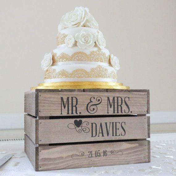Personalised Rustic Wedding Cake Stand, Vintage Wedding Wooden Crate Cake Stand Personalised rustic, vintage style wooden wedding cake stand finished in rustic antique brown. Handmade in Dorset from high quality materials offering solid and sturdy construction. Personalised with the design shown in images with your chosen surname and date. Please add your personalisation details in the message to seller at checkout when placing your order. These rustic cake stands add a personalised touch...