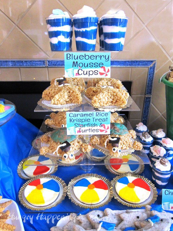 Beach Themed Party Ideas With Images Rice Krispies Beach