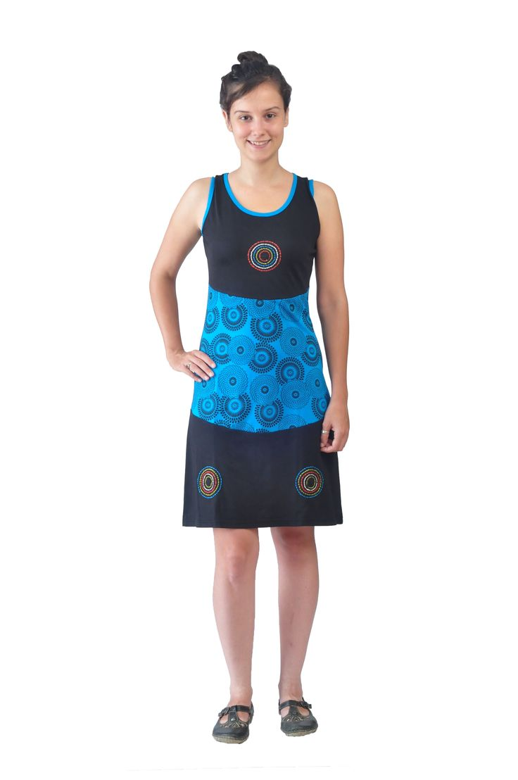 Women's Black& Blue Sleeveless Dress with Circular Embroidery and Print.Give a try!!!