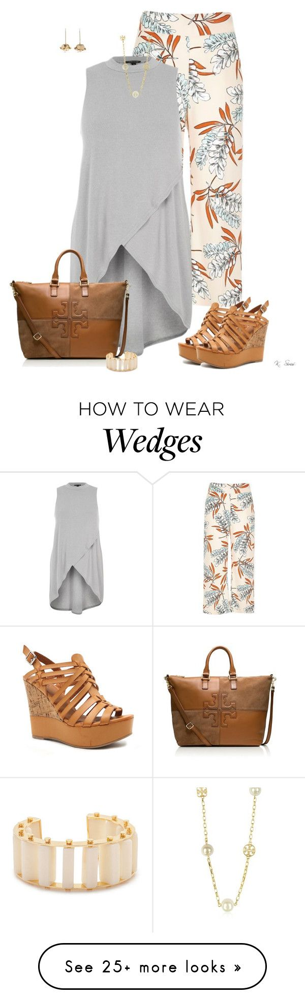 """More Cute Pants"" by ksims-1 on Polyvore featuring River Island, Qupid, Tory Burch, Lele Sadoughi and Aurélie Bidermann"