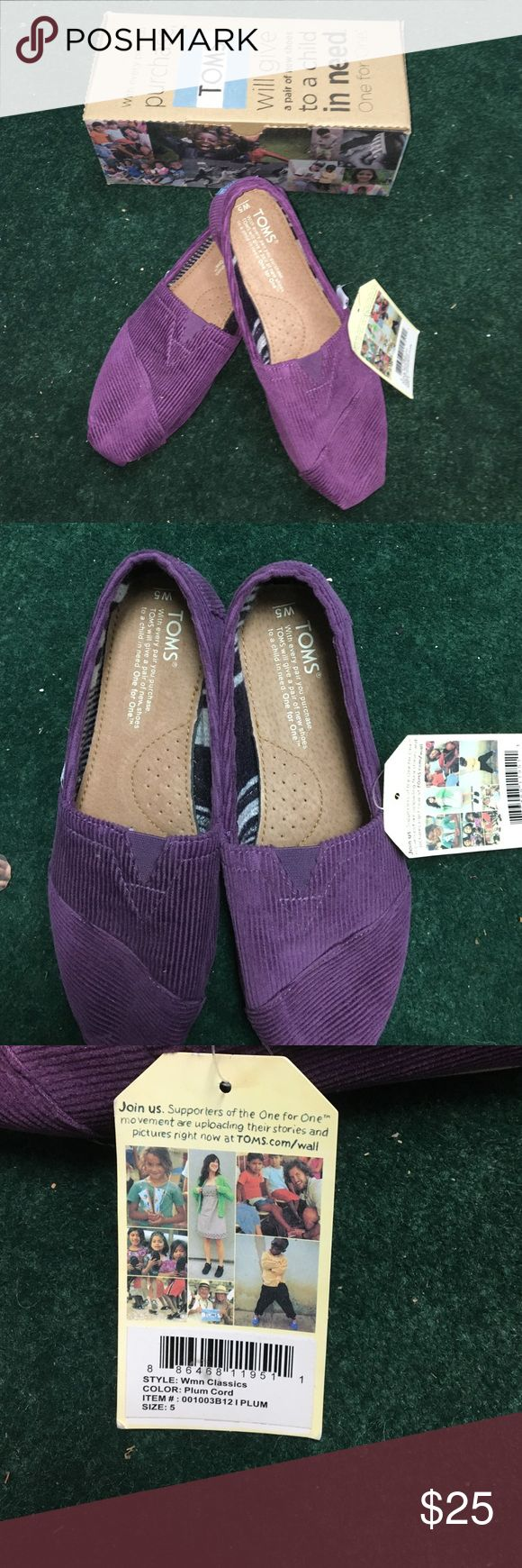 TOMS Classics Women Plum Cord Shoes Tags still attached, never worn, comes with box and bag TOMS Shoes