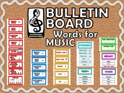 MUSIC Word Wall or Bulletin Boards ddecor from MyPinkMusic from MyPinkMusic on TeachersNotebook.com (19 pages)  - Use this set in any way you see fit!  There are 42 music words total divided into the following categories: music notes, rests, symbols, tempo, dynamics, time signatures, melody and voices.