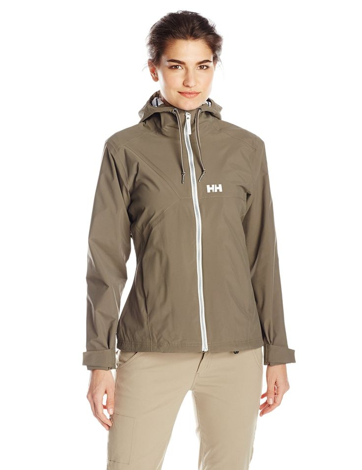 Helly Hansen Women's Marstrand Rain Jacket with YKK Front Zip, Soil Green, X-Large. YKK front zipper and zipped hand pockets. HELLY TECH PROTECTION-Waterproof, windproof and breathable. 2 ply fabric construction, fully seam sealed, Durable Water Repellence treatment (DWR). Fixed hood with one hand adjustments and front storm flap with anti-chafe chin guard. Adjustable cuffs and adjustable bottom hem cinch cord.