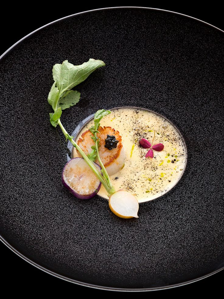 #plating #presentation Fried Saints Jacques (scallop) and citrus sabayon (Italian mousse-like dessert) by chef Kei Kobayashi. © Richard Haughton - See more at: http://theartofplating.com/editorial/kei-kobayashi-picasso-in-the-kitchen/#sthash.va2HUoOQ.dpuf