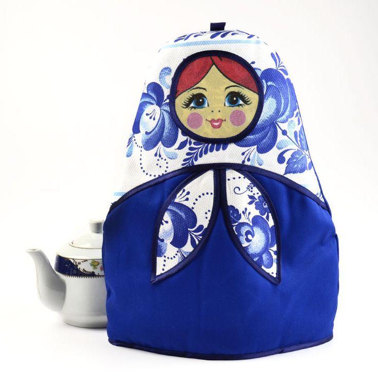 Гжель Русский чай Уютная кукла русские матрешки-Matriochka-Бабушка…