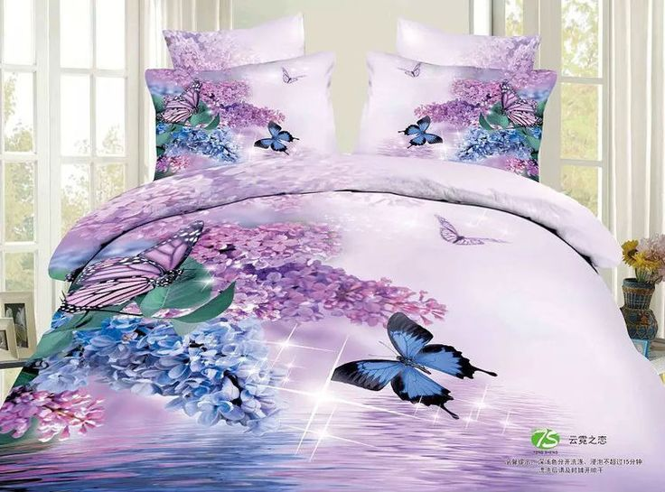 beautiful blue and purple lilac butterfly bedding set for girls queen king size cotton bed linen duvet cover sets
