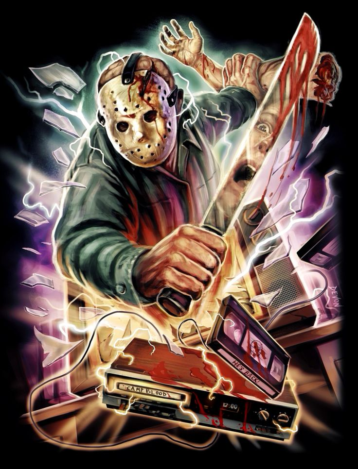 "brokehorrorfan: ""With Friday the 13th mere hours way, Cavity Colors has released new Jason Voorhees gear. Devon Whitehead's VHS-fueled design is available on T-shirts ($26), tank tops ($26), baseball tees ($35), and sweatshirts ($40) for the next 72..."