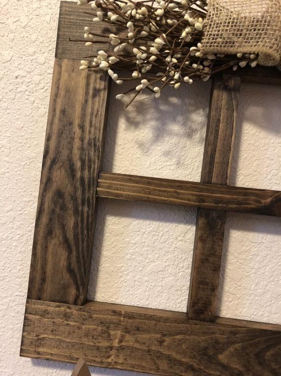Mid Size 15 X 20 6 Pane Wood Window Frame Rustic Wall Decor Etsy Wood Window Frame Wood Windows Primitive Wall Decor