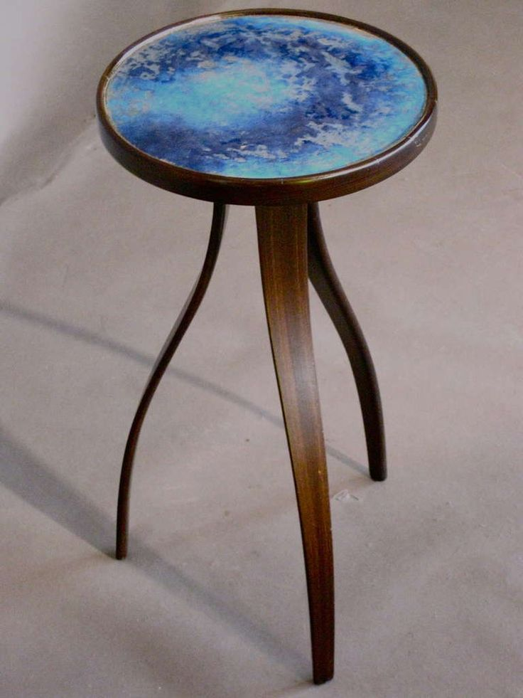 arvey Probber; Enamel-Top Mahogany Side Table, 1950s.