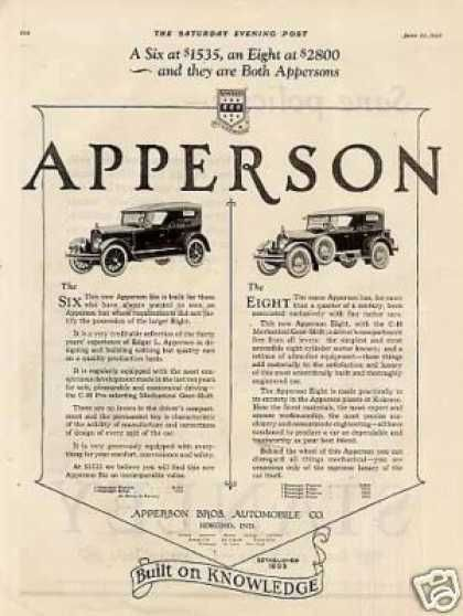 Apperson Six & Eight Cars (1923)