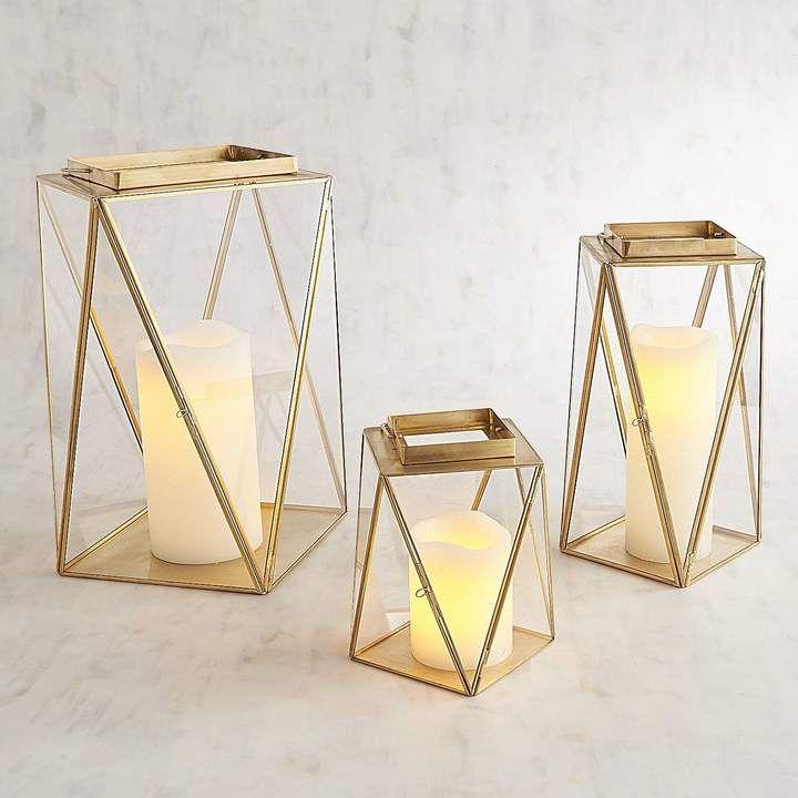 Chloe Golden Modern Lanterns. #homedecor #glasslanterns #boho #bohostyle *aff*