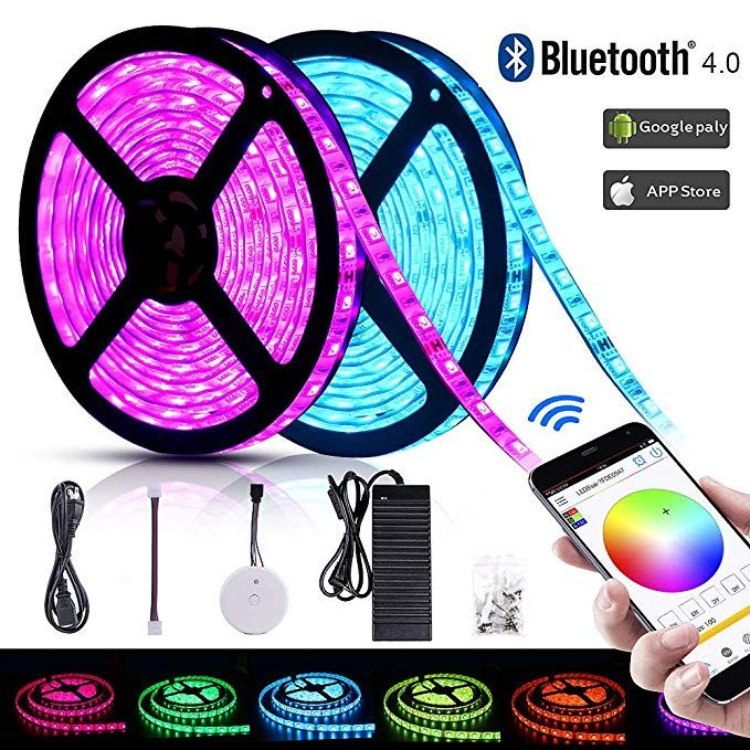 Solarphy 32 8ft 10m Rgb Led Strip Light Bluetooth Smartphone App Controlled 5050 Led Light Strip 600 L Led Strip Lighting Strip Lighting Rgb Led Strip Lights