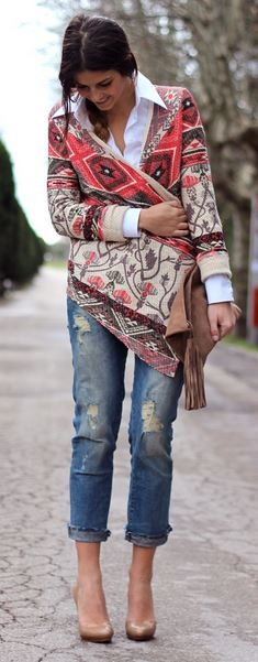 There's something about fancy shoes and ripped jeans :0)---Love the fun sweater/wrap.