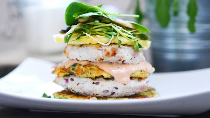 Turkey burger with zucchini pancakes , danish sauce and spinach!