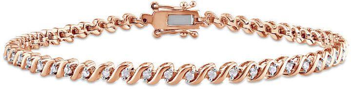 Zales 1/2 CT. T.w. Diamond S-Curve Tennis Bracelet in Sterling Silver with Rose Rhodium - 7.5 WdmIT1dKJ7