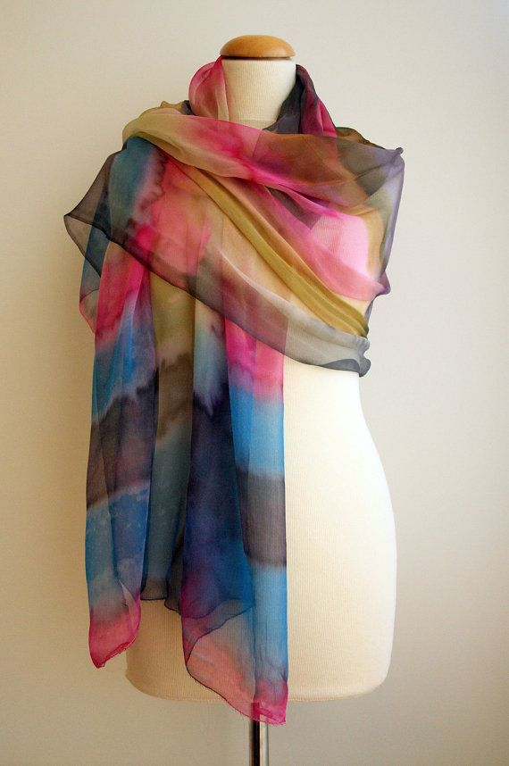 Hand beschilderde zijde chiffon sjaal. Aangepaste. Zijden sjaals. Handbeschilderde zijden sjaal. Huwelijkscadeau. Ooak chiffon - 76x37Inches(190x94cm)