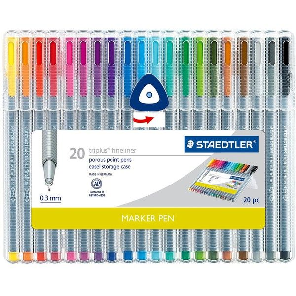 Staedtler 20ct Black Fine tip Felt tip Marker Pen, Multi-Colored ($25) ❤ liked on Polyvore featuring home, home decor, office accessories, art, filler, stationary, school supplies, accessories, felt markers and black felt pen
