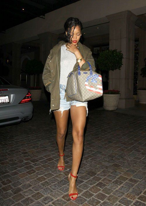 When Did She Wear it Better? Rihanna's in Etoile Isabel Marant's Army Green Suede Trim Cotton Linen Canvas Jacket - The Fashion Bomb Blog : Celebrity Fashion, Fashion News, What To Wear, Runway Show Reviews