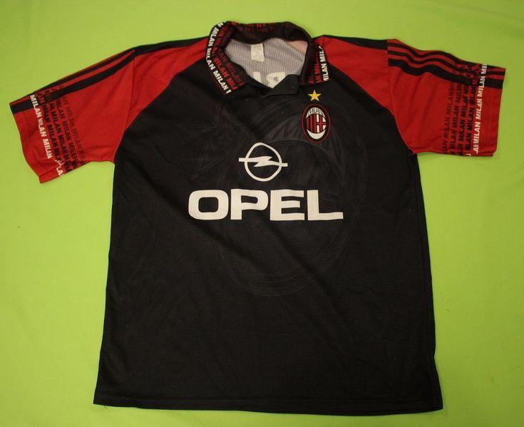 AC Milan Jersey Shirt Sz XL OPEL Soccer Futball Abbiati #12 Black Red Italy Made #Denise #ACMilan