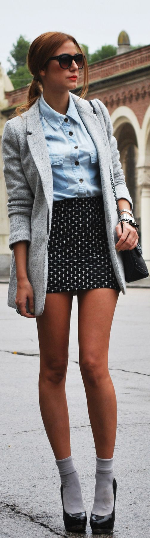 Love playing with different lengths- pairing a long boyfriend blazer with a short skirt/ skirts. Also, may want to try pairing rolled over socks with a pair of pumps to give it more of a schoolgirl look.