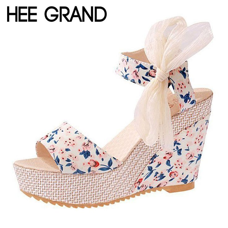 Floral Wedges Sandals Summer Style Platform Gladiator Sandals 2016 Flats Shoes Woman Casual Lace Bowtie High Heels XWZ2019