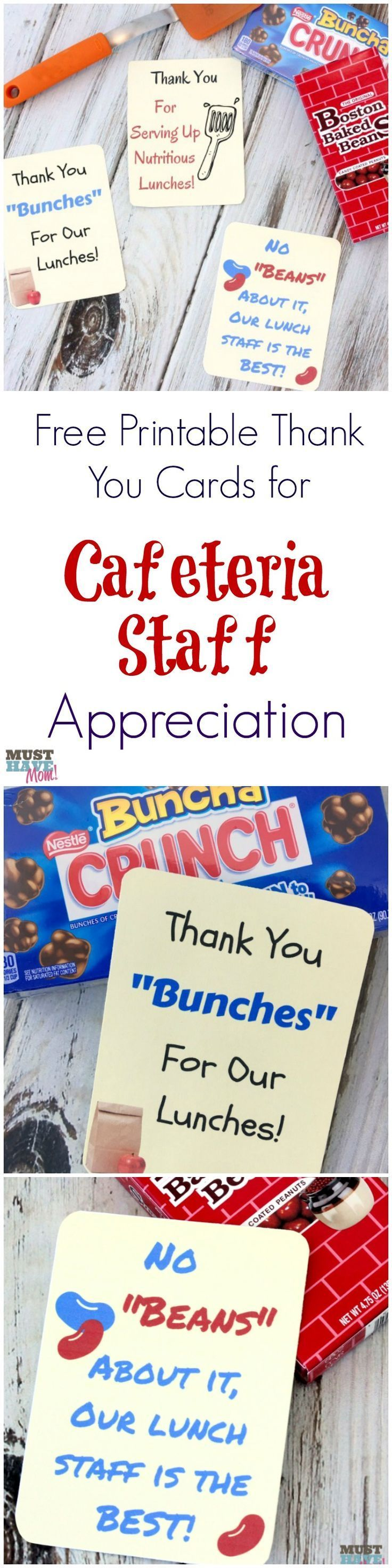 Free printable thank you cards for cafeteria staff appreciation! Celebrate school lunch hero day and thank those that provided school lunches for your child each day! #appreciationgifts