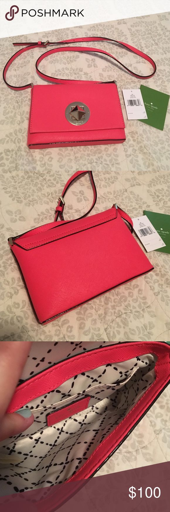 Kate spade Newbury lane geranium crossbody LN!! This is a cross body bag. Great for your phone, lip gloss and cash on a night out! One inside pocket. No marks or stains when I looked it over. Overall great used condition! Item as shown in pics. This is the geranium color, may be a bit more peachy/orange tint in person but I would say it def looks pink too. Very bright and gorgeous bag! kate spade Bags Crossbody Bags