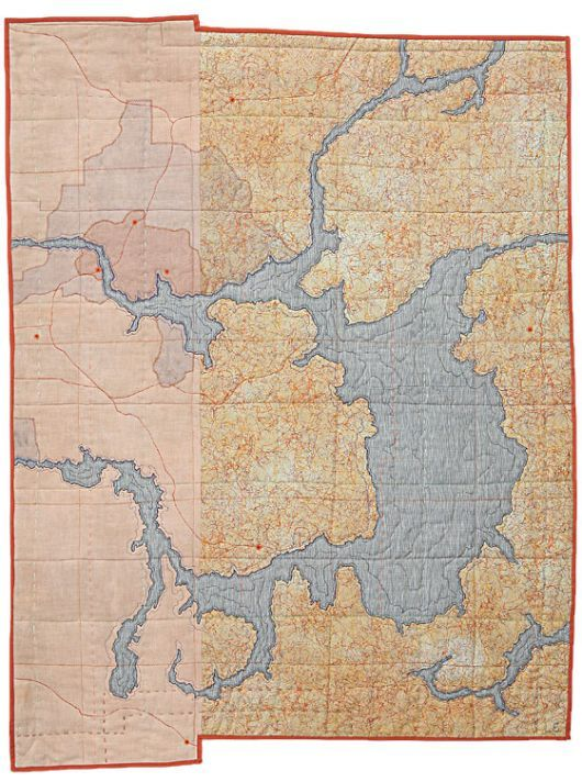 Leah Evans, beautiful map quilts